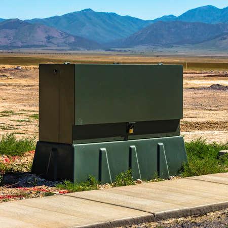 Power box on a construction zone near a mountain