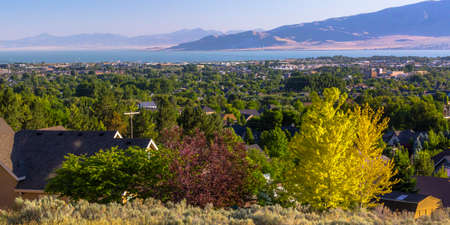 Homes around Utah lake and mountain in Orem Utah