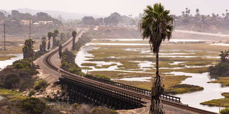 Train track and bridge over a lagoon in Carlsbad