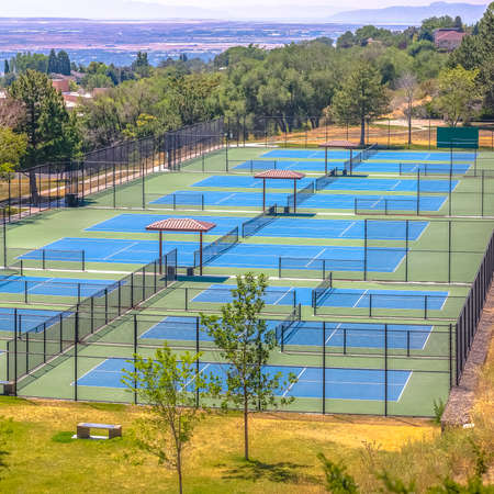 Tennis courts with view of downtown Salt Lake City