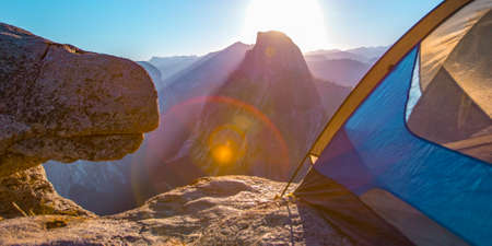 Camping in Glacier Point with view of Half Dome