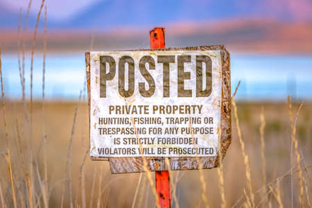 Old Posted sign on private property near Utah Lake