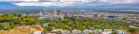 Salt Lake City landscape with a dramatic skyline