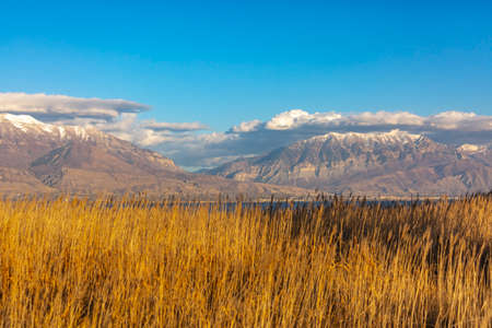 Provo canyon mountains seen from Saratoga Springs