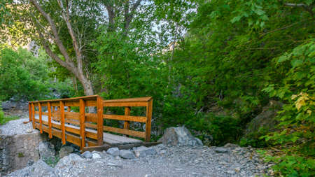Short and narrow wood bridge in Provo Utah forest 版權商用圖片