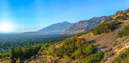 Huge mountains overlooking city of Ogden in Utah