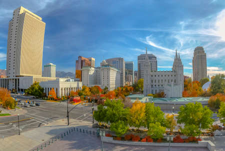 Autumn in historic Temple Square Salt Lake City Stock Photo