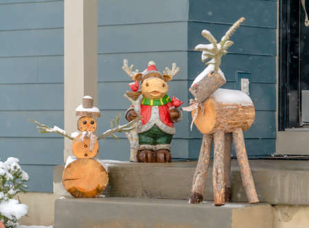 Christmas wooden figurines on the stairs of a home Stock Photo