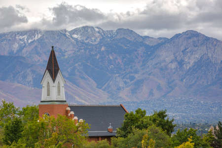 Church in Utah with city and mountain view
