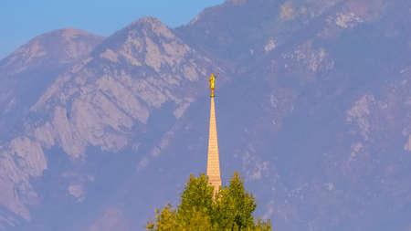 Church spire in Daybreak Utah with statue on top Reklamní fotografie