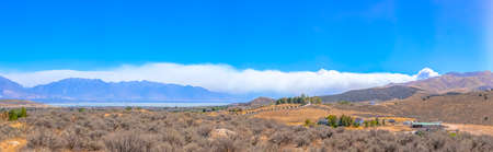 Forest fire in Lake Mountain seen from Utah Valley Stock Photo