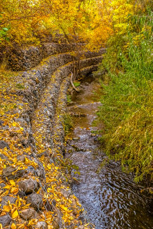 Rocky stream bank with mesh wire and golden leaves