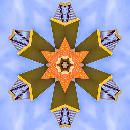 Fractal star made from a real estate balcony photo. Geometric kaleidoscope pattern on mirrored axis of symmetry reflection. Colorful shapes as a wallpaper for advertising background or backdrop.