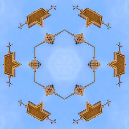 Cross and other decorations made into shapes. Geometric kaleidoscope pattern on mirrored axis of symmetry reflection. Colorful shapes as a wallpaper for advertising background or backdrop.