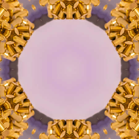 Empty circle area with bullets surrounding space. Geometric kaleidoscope pattern on mirrored axis of symmetry reflection. Colorful shapes as a wallpaper for advertising background or backdrop.