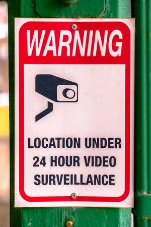 Warning sign on location under video surveillance