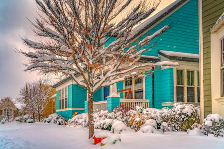 Scenic view of a neighborhood in Daybreak Utah frosted with snow in winter