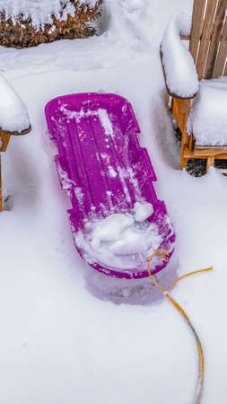 Clear Vertical Wooden chairs and purple sled against powdery white snow in Daybreak Utah. Behind the chairs are round shrubs capped with snow during winter season.