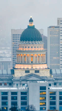 Vertical The magnificent Utah State Capital Building in Salt lake City on a hazy day