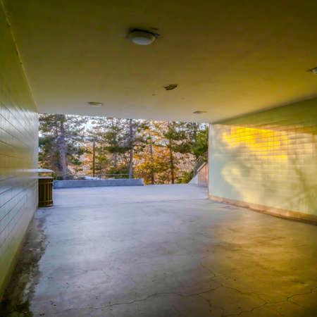 Square Passageway underneath a building with view of lush trees and sunny outdoors