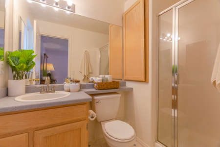 Interior of a cozy and well lighted bathroom with vanity area and toilet. The shower and bathtub is concealed behind a large glass sliding door.