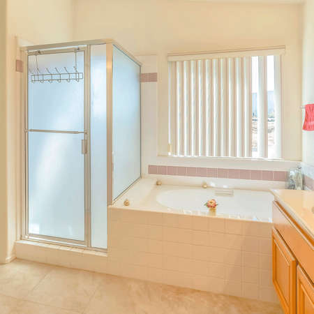 Frame Square Interior of a bathroom with built in bathtub vanity area and separate shower