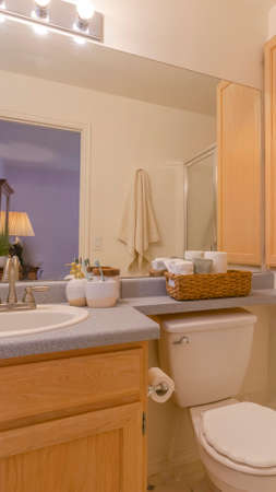 Panorama frame Interior of a cozy and well lighted bathroom with vanity area and toilet Stock Photo