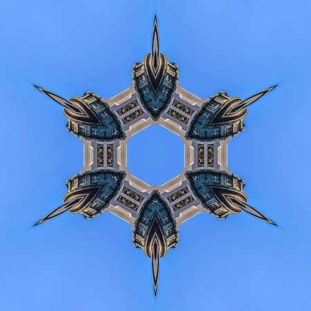 Sharp and pointed ring of Utah State Capital. Geometric kaleidoscope pattern on mirrored axis of symmetry reflection. Colorful shapes as a wallpaper for advertising background or backdrop.