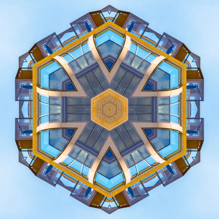 Fractal ball made from balconies and decks. Geometric kaleidoscope pattern on mirrored axis of symmetry reflection. Colorful shapes as a wallpaper for advertising background or backdrop.