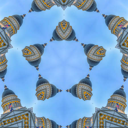 Grid background with the Capital building. Geometric kaleidoscope pattern on mirrored axis of symmetry reflection. Colorful shapes as a wallpaper for advertising background or backdrop.
