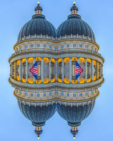 Capital building dome with colums and flags. Geometric kaleidoscope pattern on mirrored axis of symmetry reflection. Colorful shapes as a wallpaper for advertising background or backdrop.