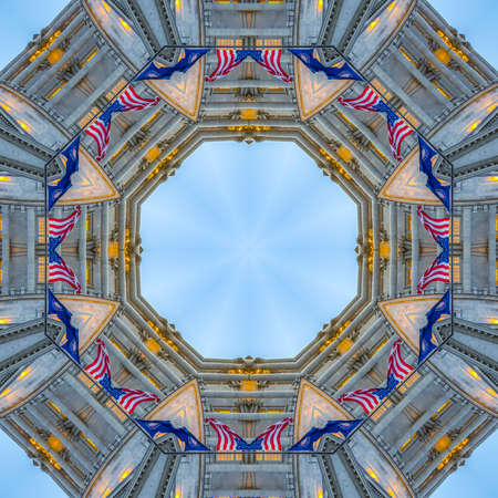 Geometric photo with American and Utah flags. Geometric kaleidoscope pattern on mirrored axis of symmetry reflection. Colorful shapes as a wallpaper for advertising background or backdrop.