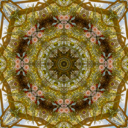 Muted pink colored flowers in circular arrangement at wedding in California. Geometric kaleidoscope pattern on mirrored axis of symmetry reflection. Colorful shapes as a wallpaper for advertising background or backdrop.