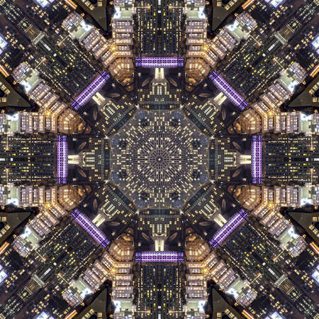 San Fransisco streets and city made into fractal. Geometric kaleidoscope pattern on mirrored axis of symmetry reflection. Colorful shapes as a wallpaper for advertising background or backdrop.