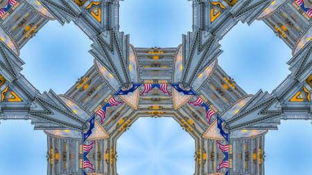 Panorama American and Utah flag in geometric fractal Utah