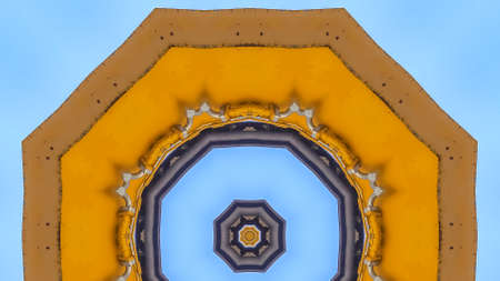 Panorama frame Abstract emlem made from yellow tractor arm