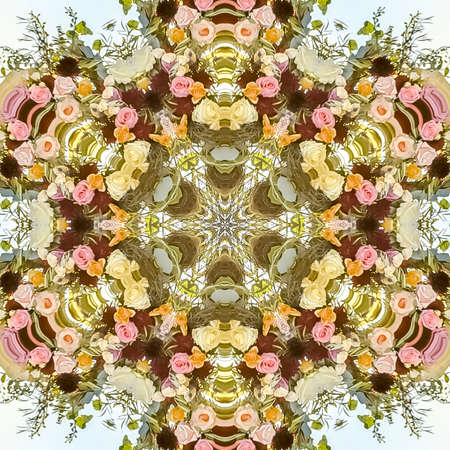 Square Floral design into a kaleidoscopic shape with multiple types of flowers for a design