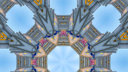Panorama Fractal with american flags on capital building