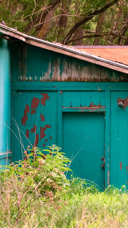 Vertical Exterior of shed in the forest with damaged roof and peeling green paint on wall