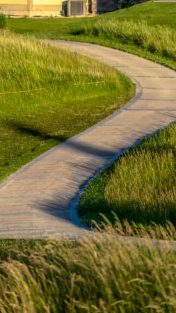 Vertical frame Pathway that winds through a grassy terrain with houses in the background. The landscape is illuminated by sunlight on this sunny day. Foto de archivo
