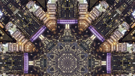 Panorama San Fransisco streets and city made into fractal. Geometric kaleidoscope pattern on mirrored axis of symmetry reflection. Colorful shapes as a wallpaper for advertising background or backdrop. Banque d'images