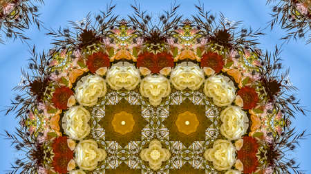 Panorama frame Quadruple flowers in circular arrangement at wedding in California on blue background. Geometric kaleidoscope pattern on mirrored axis of symmetry reflection. Colorful shapes as a wallpaper for advertising background or backdrop. Imagens