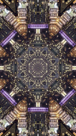 Vertical San Fransisco streets and city made into fractal. Banque d'images