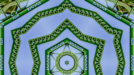 Panorama frame Symmetrical pattern design created from doubling a photo of a green bridge in California Archivio Fotografico