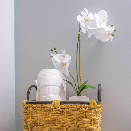 Square Woven basket with tissue roll and white flowers placed on top of the toilet tank Banco de Imagens