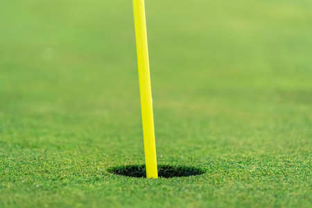 Close up view of the yellow pin and cup of a golf course on a sunny day Banco de Imagens