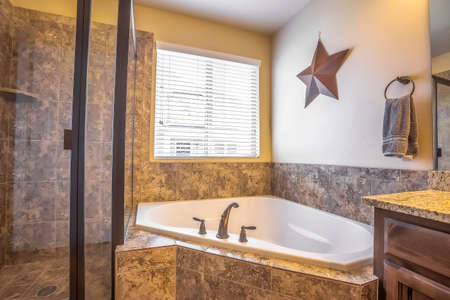 Bathroom interior with built in bathtub shower stall and marble tile wall