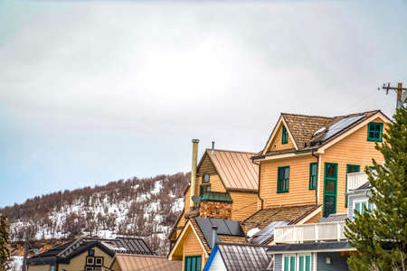Winter landscape with upscale cabins on a mountain with snow against cloudy sky. Coniferous trees and trees with leafless branches grow around the homes.