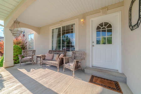 Traditional home porch and deck with no people