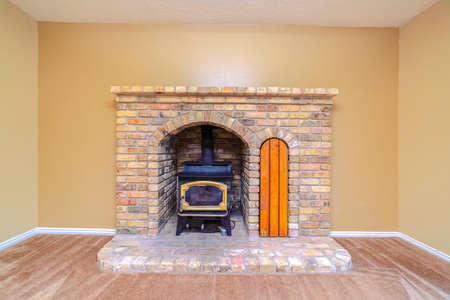 Brick fireplace with insert burner or furnace